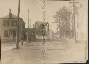 Entrance to new Delaware River Bridge, looking west from canal on Bridge Street - c 1905