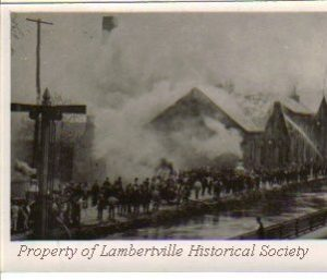 Fire at Perseverance Paper Mill, on Canal, south of Bridge Street - 1906 and subsequent fires. Later, the ACME Market site.