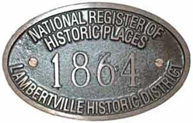 Lambertville Historical Society House Plaque